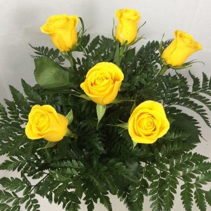 ramo de 6 rosas amarillas